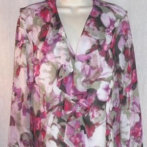 EVAN PICONE sz 12 blouse Ruffle Front lined Floral